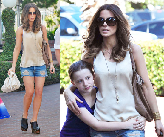 Kate Beckinsale in LA Wearing Nude Silk Tank, Cutoff Shorts, and Clogs