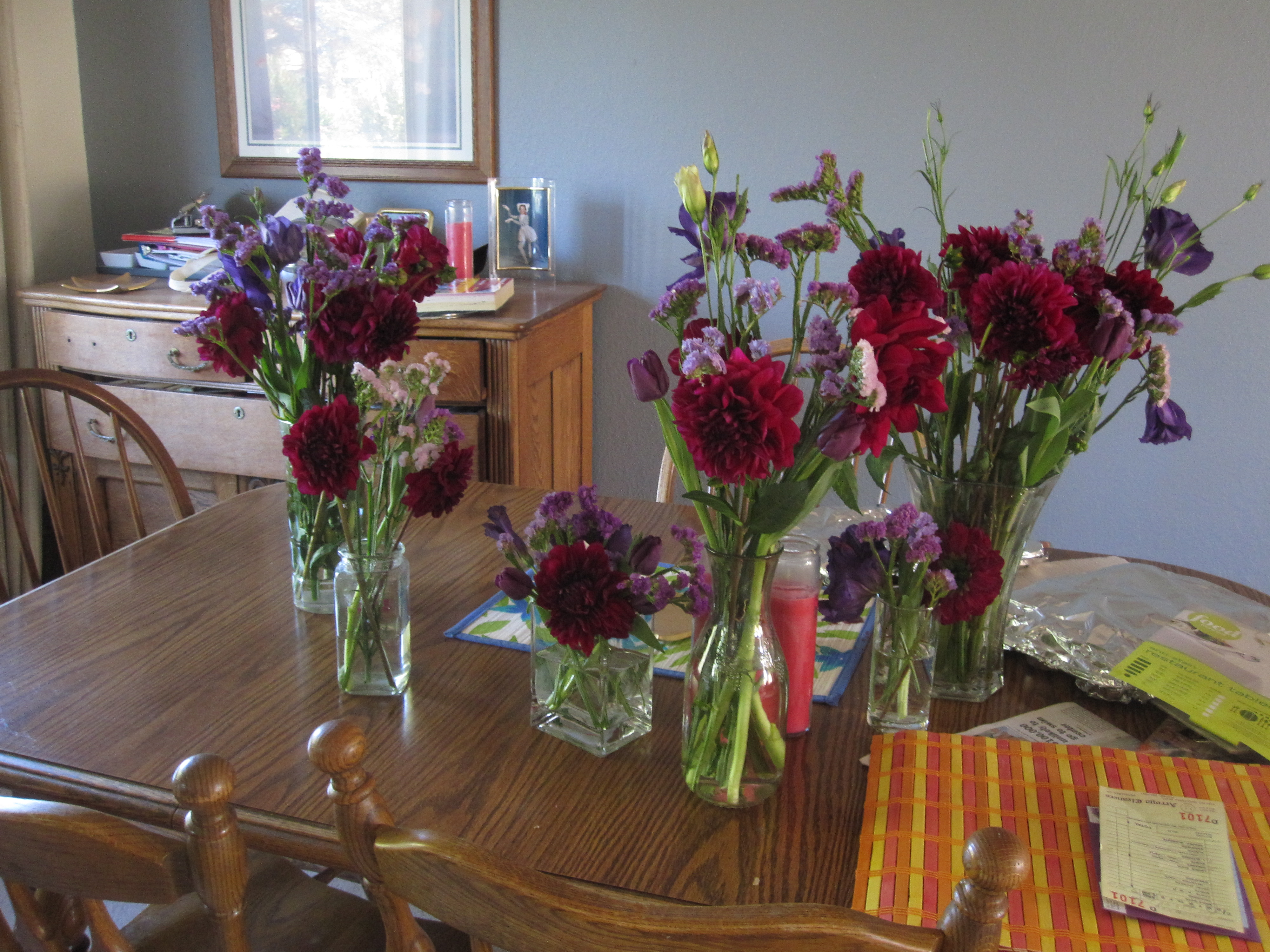 I purchased a bunch of flowers at the Flower Mart the day before the party. We arranged them at my house on Friday afternoon.