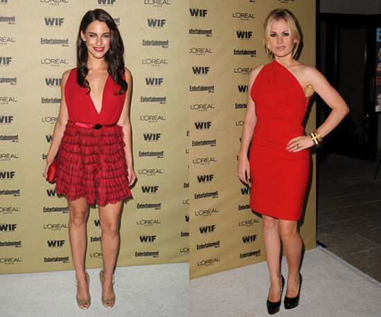 Jessica Lowndes and Anna Paquin Wearing Red Dresses