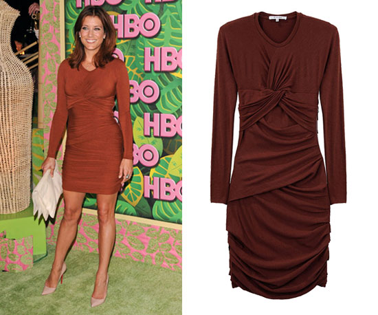 Kate Walsh Wearing Rust-Colored Carven Dress at HBO Emmys Afterparty