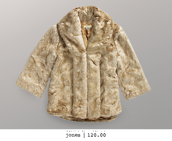 Faux fur coat with oversized slight bell sleeves & satin lining.