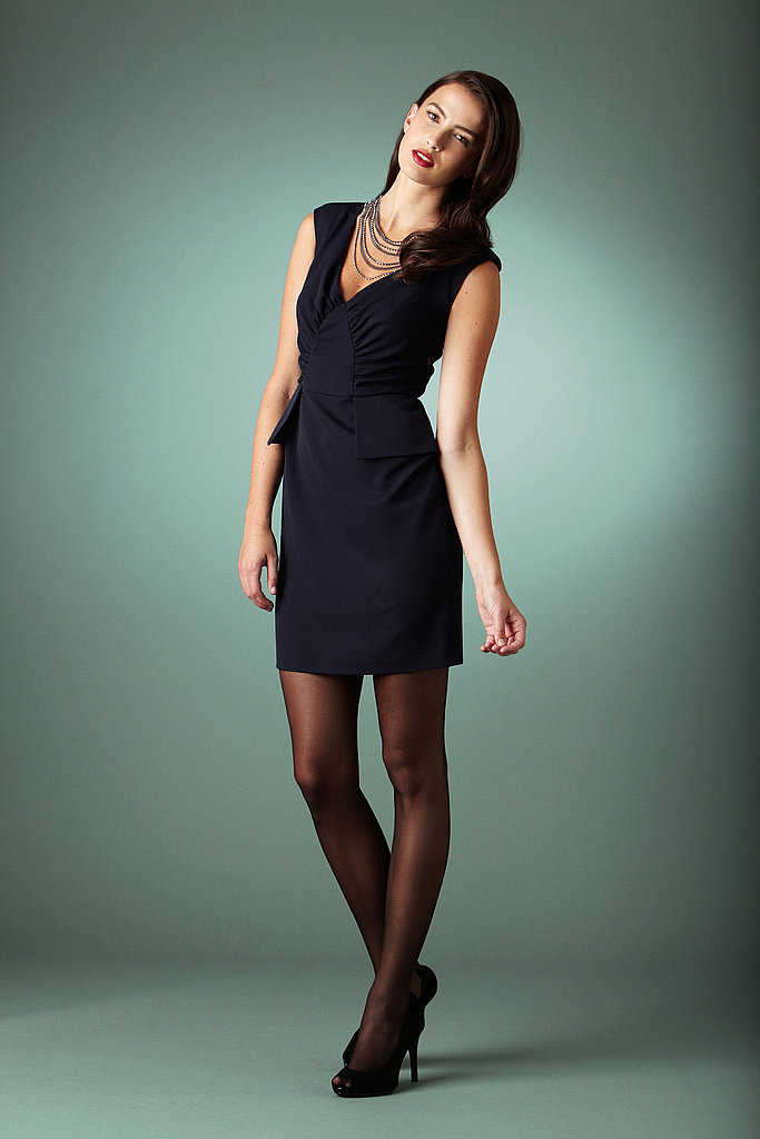 Allen B.® Ruched Peplum Dress-Navy — $39.99