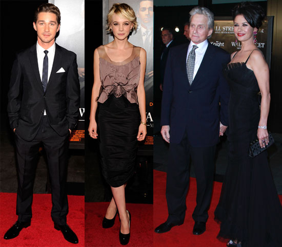 Pictures of Shia LaBeouf, Carey Mulligan, and Michael Douglas at the Wall Street 2 Premiere