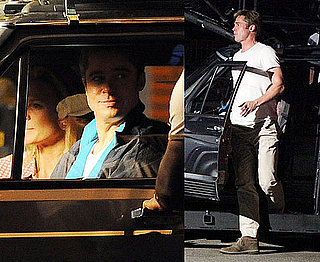 Pictures of Brad Pitt Taking a Break For Burgers on Moneyball Set