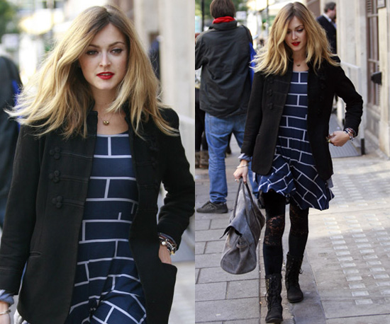 Photos of Fearne Cotton in Brick Print Dress Outside Radio One
