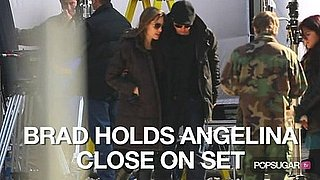 Video of Brad Pitt Visiting Angelina Jolie on Set in Budapest 2010-10-13 17:30:00
