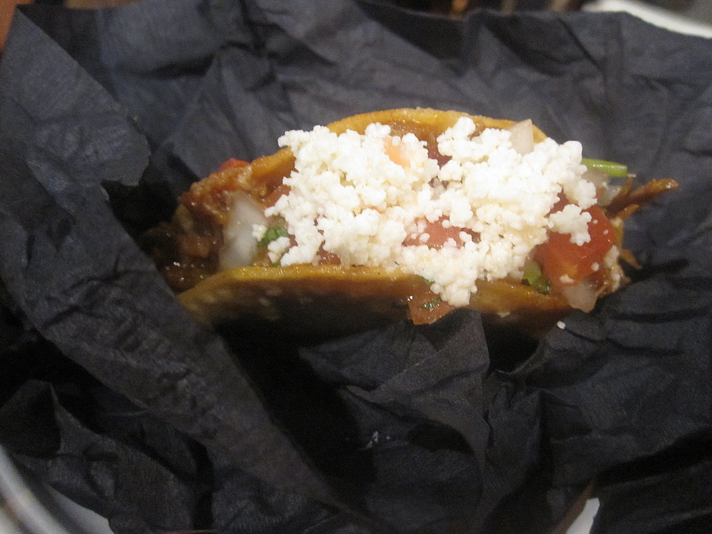 This taco was topped with crumbly queso fresco.