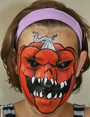 How to Make a Scary Halloween Pumpkin Face Paint Look