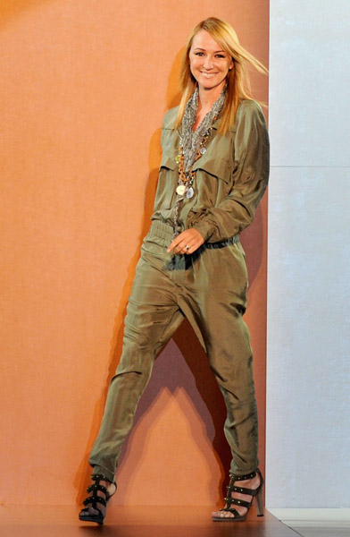 Gucci's Frida Giannini is fashionable no matter if she's wearing jeans or a dress.