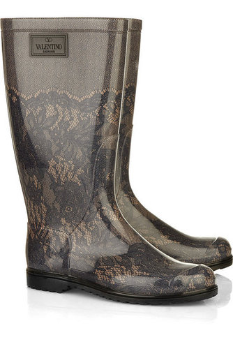 Valentino - Lace-effect Wellington boots