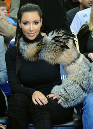 Kim Kardashian Wearing a Fur Sleeve