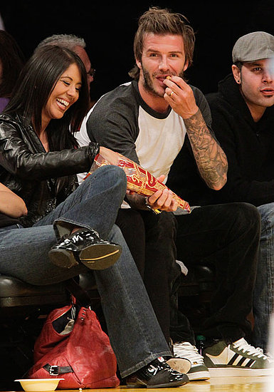 Pictures of David Beckham, Kaley Cuoco, Trevor Donovan at the Lakers Game