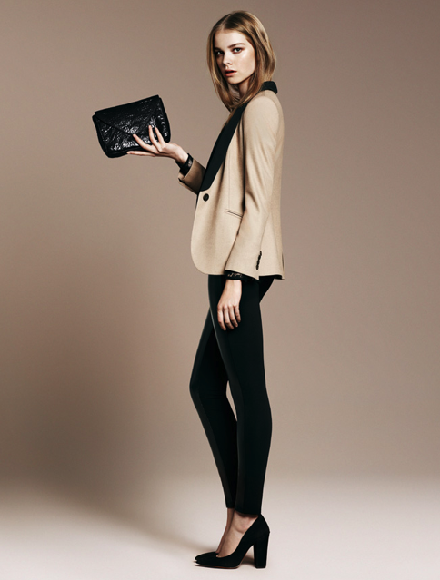 Lapel Jacket ($80), Two-tone Lace T-Shirt ($40), Wide Heeled Pointed Toe Court Shoe ($100)