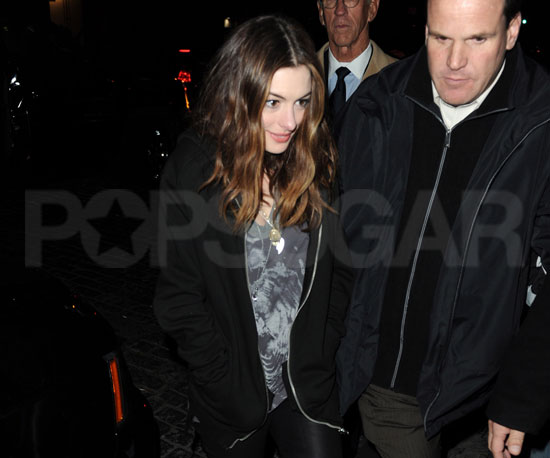 Slide Picture of Anne Hathaway Leaving SNL in NYC