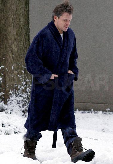Pictures of Matt Damon Filming Contagion in Illinois