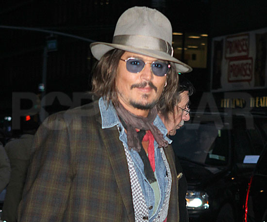 Slide Picture of Johnny Depp Arriving at The Late Show Studios in NYC