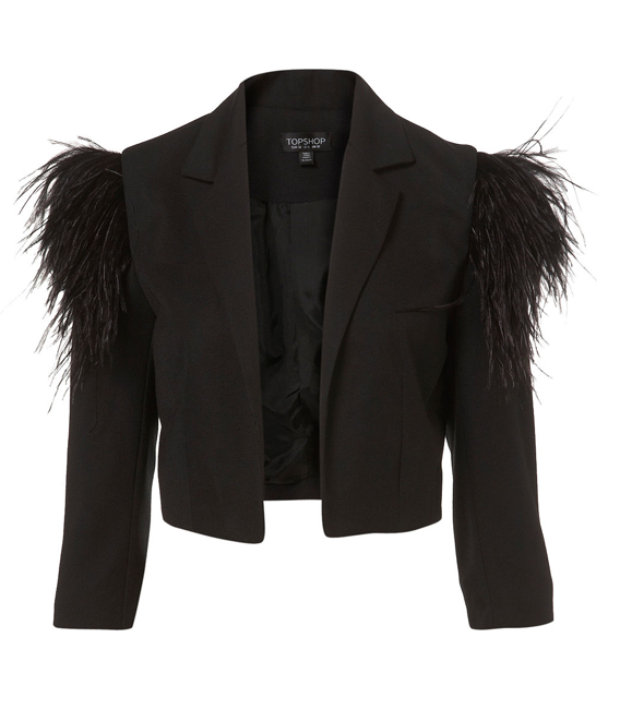 Topshop Feather Shoulder Crop Jacket ($125)