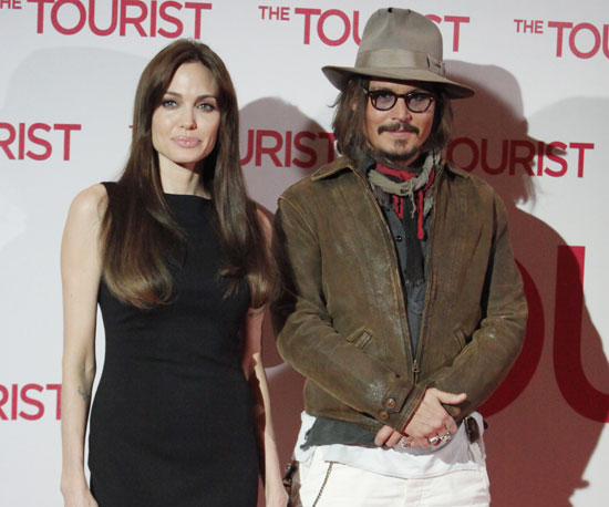 Slide Picture of Johnny Depp and Angelina Jolie Promoting The Tourist in Germany
