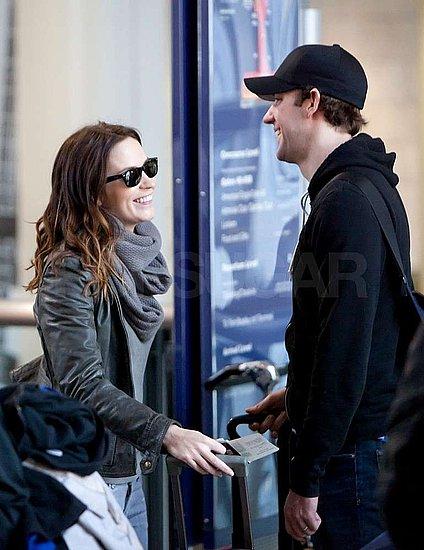 Pictures of John Krasinski and Emily Blunt Leaving LAX For Boston
