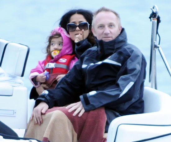 Slide Picture of Salma Hayek, Francois, and Valentina in St. Barts