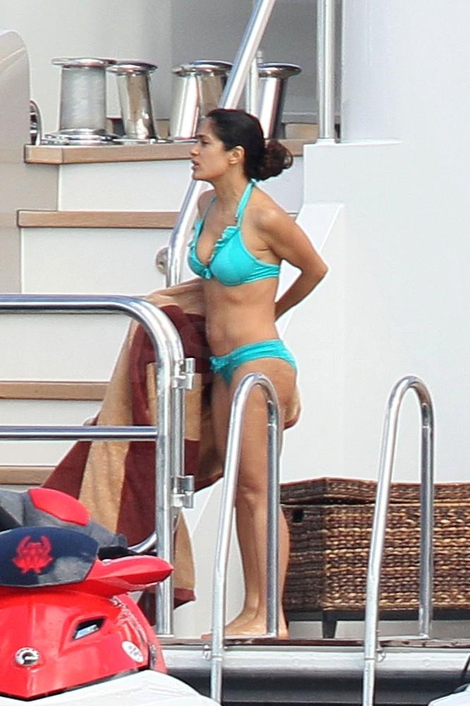 Salma Hayek Brings Out a New Bikini to Jet Ski With Her Husband in St. Barts