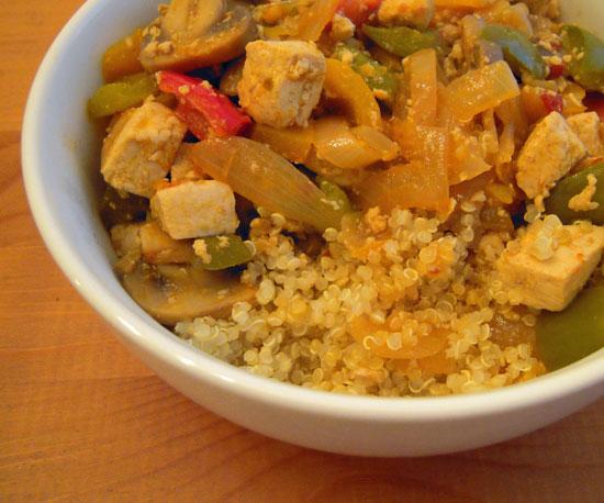 Spicy Tofu Over Quinoa