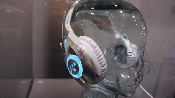 Trying on the Tron Headphones