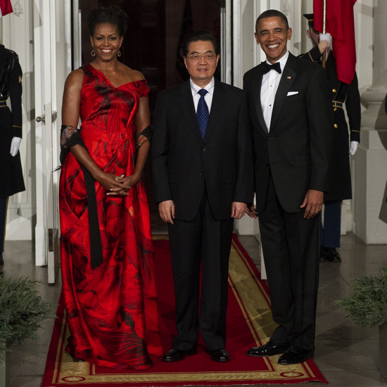 Pictures of Michelle and Barack Obama at China State Dinner Alexander McQueen Dress