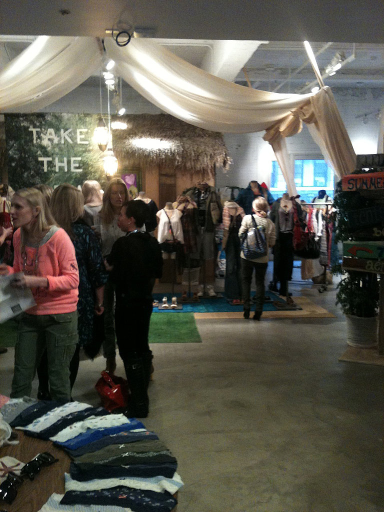 Editors and bloggers on the scene this morning at the American Eagle showroom.