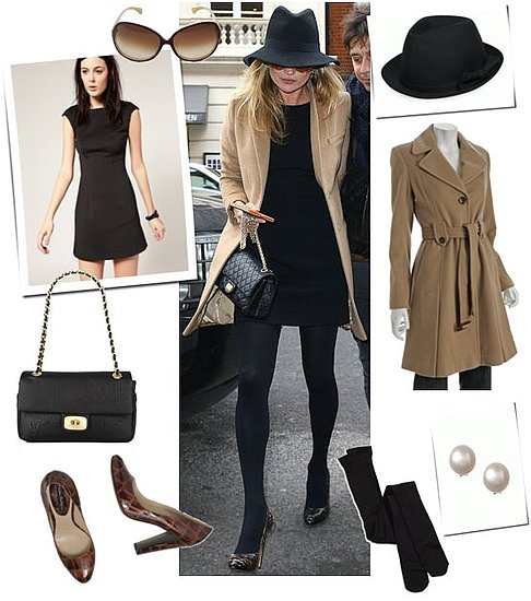 Kate Moss Wearing a Camel Coat and Black Dress in London