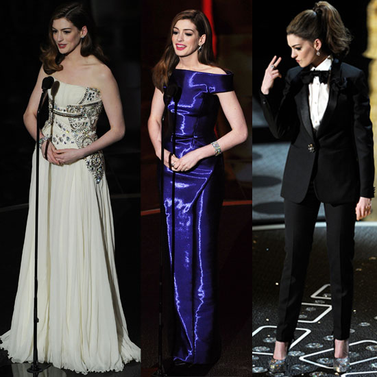 Anne Hathaway's Outfits During The 2011 Oscars 2011-02-27