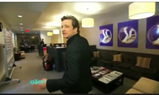 Video of Colin Firth Putting Underwear on his Oscar 2011-03-01 11:35:00