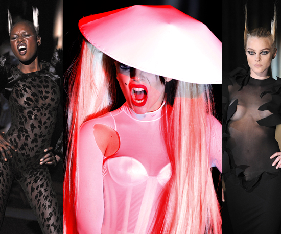 Lady Gaga Walks Mugler Autumn Winter 2011 Show at Paris Fashion Week