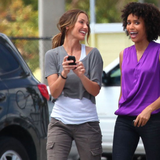 Pictures of Minka Kelly Filming Charlie's Angels TV Movie