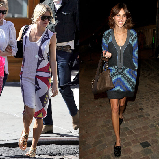 Sienna played with a retro-inspired print on a sundress; Alexa tried it on a geometric-printed sheath.