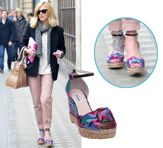 Fearne Cotton Wears Multi Coloured Wedges by Olivia Rubin for Dune