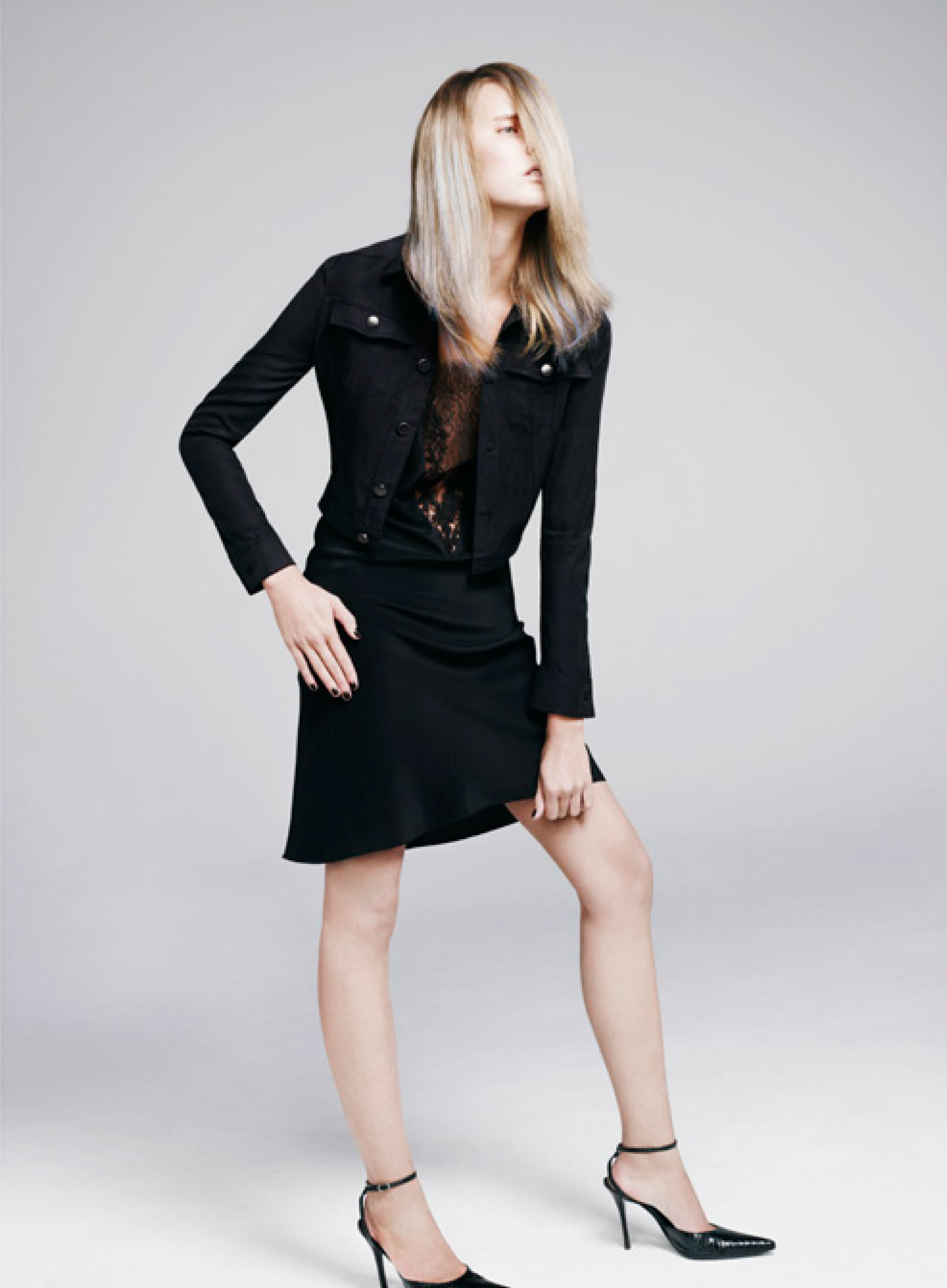 Cupro short buttoned jacket, silk and lace thin strap deep V-neck dress