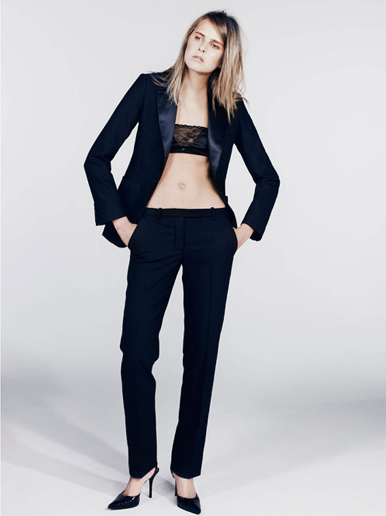Tailored silk collar blazer, thin strap silk and lace bra, straight trousers