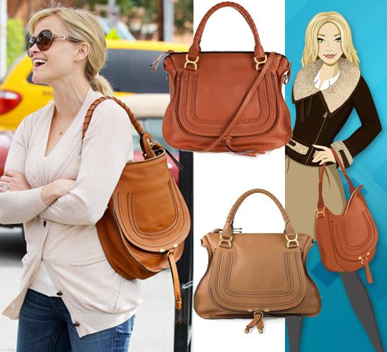 Get Reese Witherspoon's Tan Shoulder Handbag by Chloe