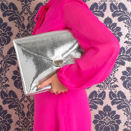 Violet May Silver Python Clutch ($195)