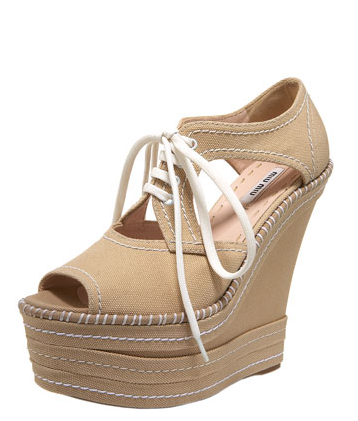 Miu MiuLace-Up Canvas Wedge Sneaker ($570)