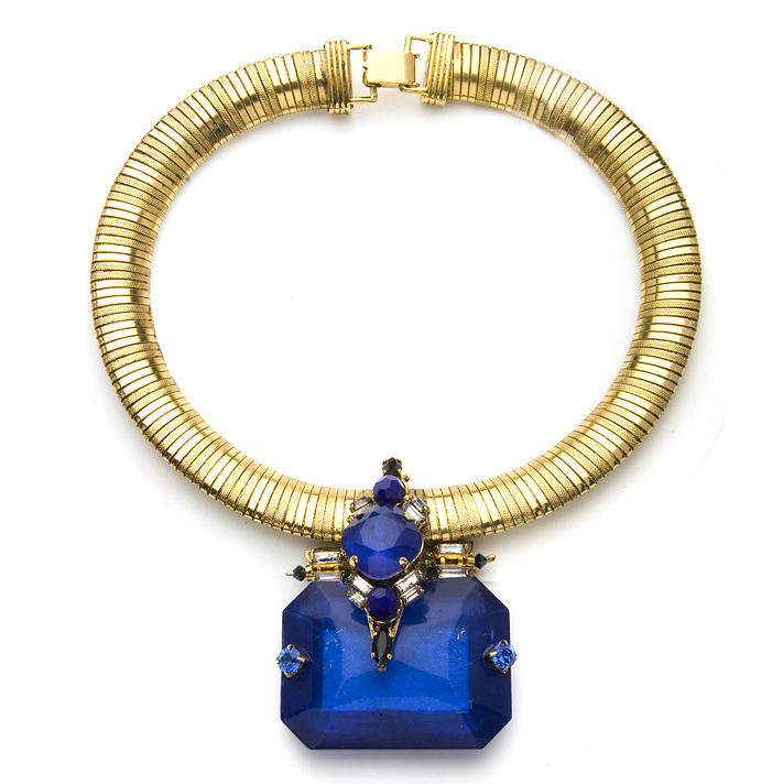 The dramatic blue crystal that's the size of my fist is the highlight of this Erickson Beamon necklace ($605).