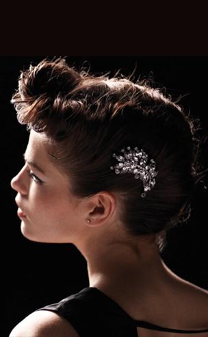Crystal Willow Leaf Barrettte