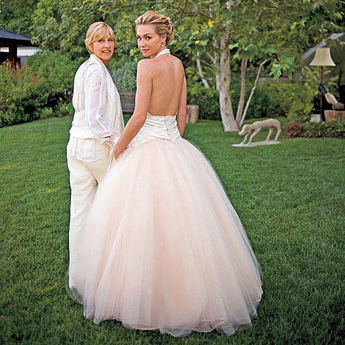 Ellen DeGeneres and Portia de Rossi had a special ceremony at their LA home in August 2008.