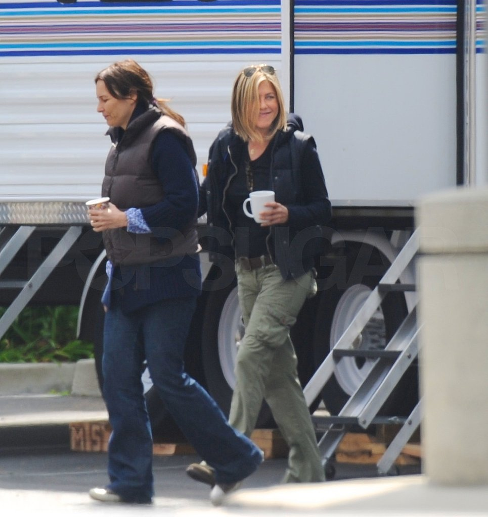 Jennifer Aniston Snacks Between Scenes on the Set of Her Directorial Project