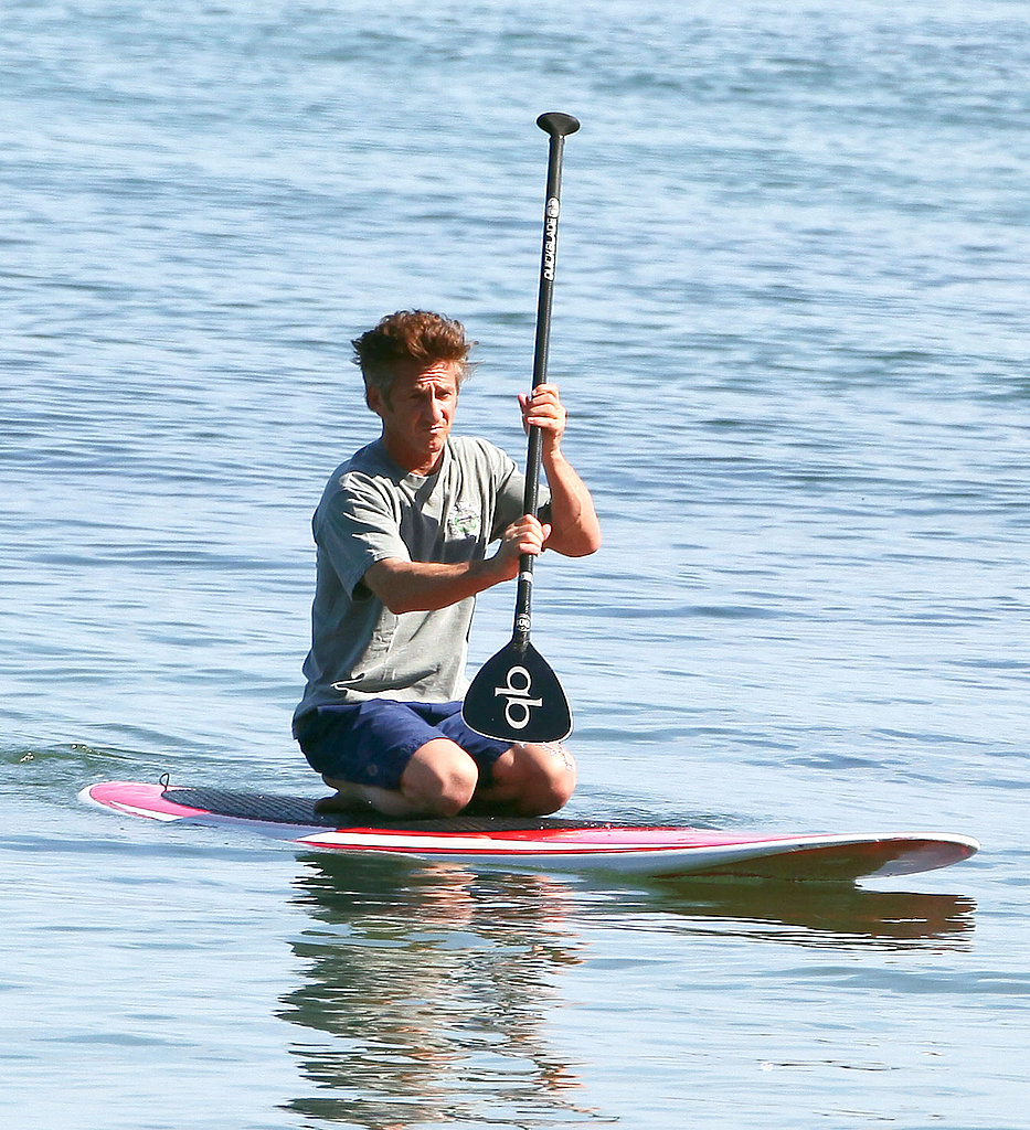 Shirtless Sean Penn Paddle Boards Solo Without Scarlett