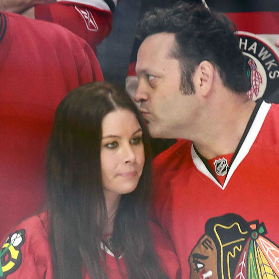 Pictures of Vince Vaughn and Wife at Blackhawks Game