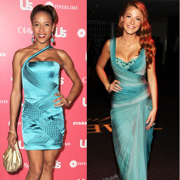 Blake Lively Wears a Trendy Aquamarine Dress
