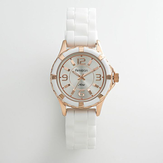 Armitron White Silicon and Rose Gold Watch, $55