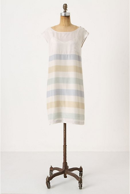We love semi-sheer textile and barely there stripes. Shore House Shift, $60